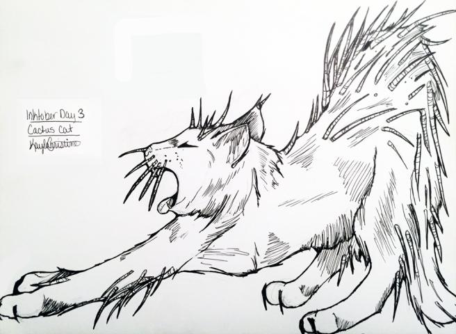 inktober-4-cactus-cat